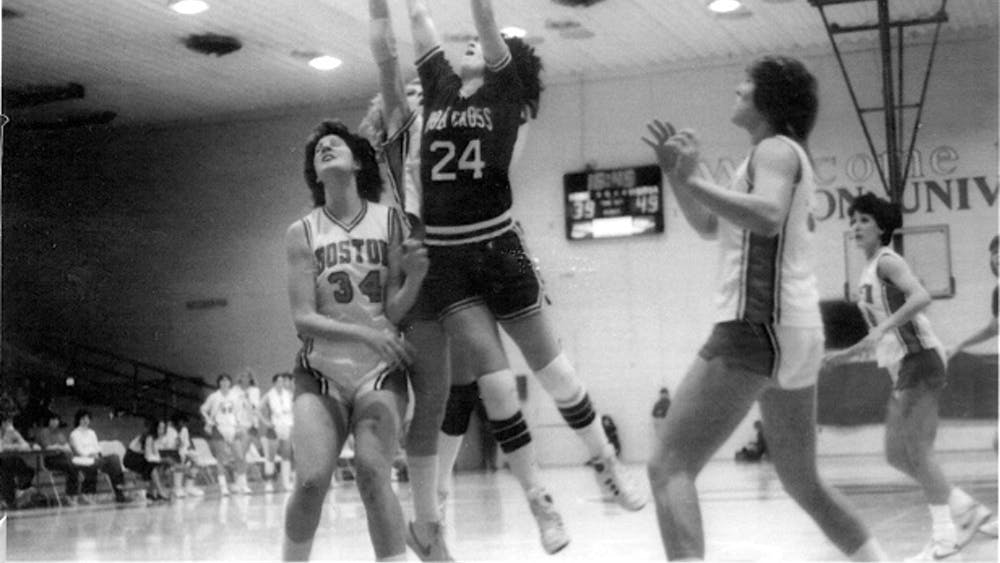 COURTESY OF MARCIA ZIMMERMAN Marcia's mom, Sherry Levin, playing for The College of the Holy Cross.