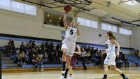 COURTESY OF HOPKINSSPORTS.COM Junior guard Madison McGrath helps Jays gain early lead in last Wednesday's game against the Washington College Shorewomen.