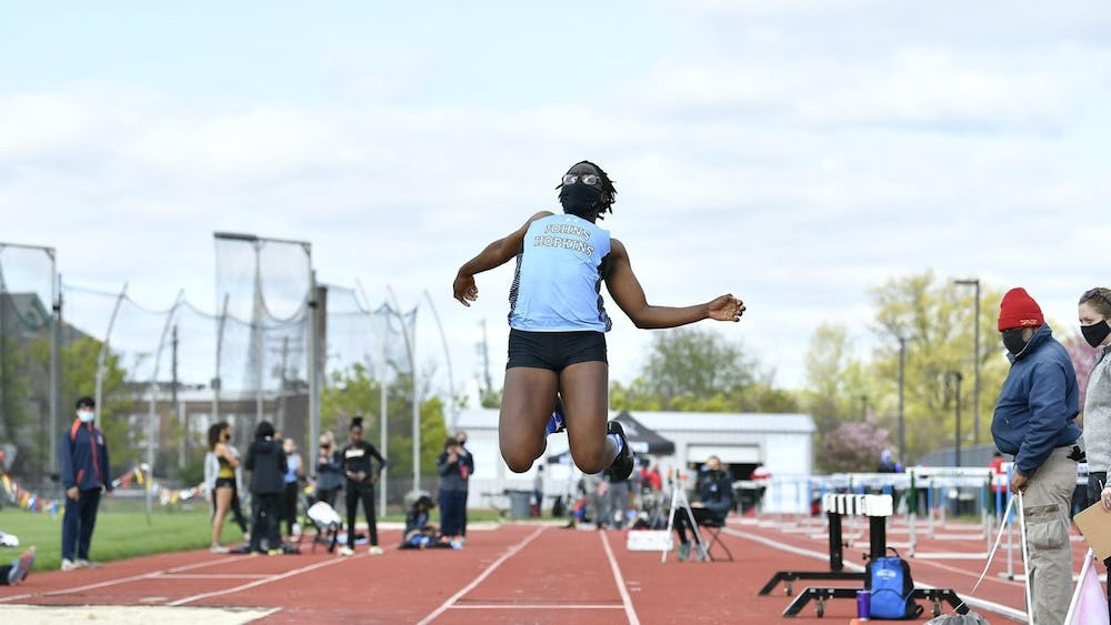 COURTESY OF HOPKINSSPORTS.COM Freshman Victoria Kadiri broke the freshman outdoor school record in the long jump with a leap of 5.69 meters.