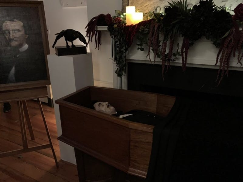 """COURTESY OF EUNICE PARK The """"seeing room"""" at the Carroll mansion featured decorations and paintings of Edgar Allan Poe."""