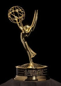 The 2009 Philo T. Farnsworth Primetime Emmy Award Statue given to NASA Television in recognition for engineering excellence and technological innovations that made possible the first live TV broadcast from the moon by the Apollo 11 is shown on Aug. 19, 2009 at NASA Headquarters in Washington.  Photo Credit: (NASA/Bill Ingalls)