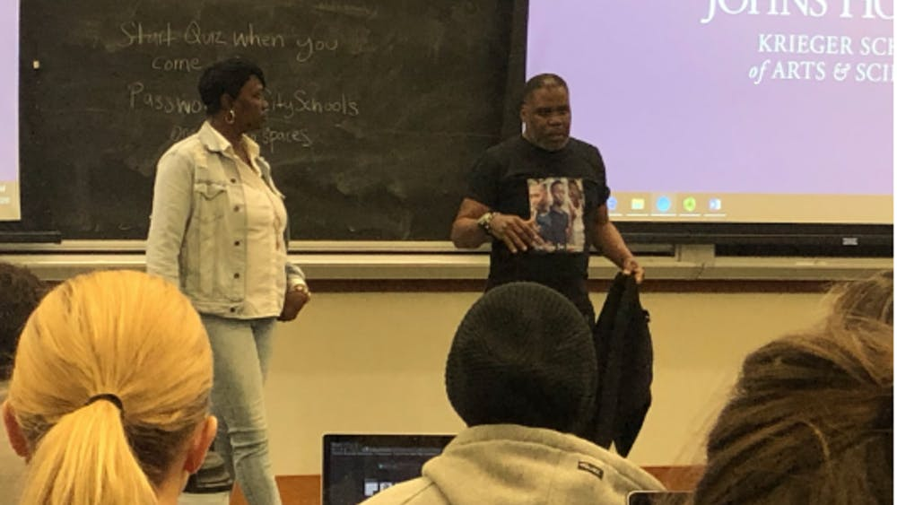 COURTESY OF LEELA GEBO. Phillip Leaf's class, Lectures on Public Health and Well-Being in Baltimore, heard from victims of gun violence.
