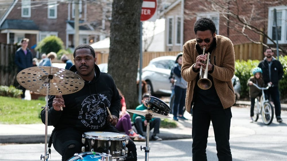 "COURTESY OF BRIAN TANKERSLEY Brandon Woody (right) and Allen ""Aldo B"" Branch (left) were the first performers in the Creative Alliance's Sidewalk Serenades series."