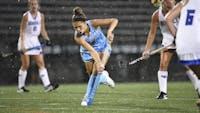 HOPKINSSPORTS.COM  Freshman midfielder Abby Birk scores her first career goal to help the Blue Jays win 2-1.