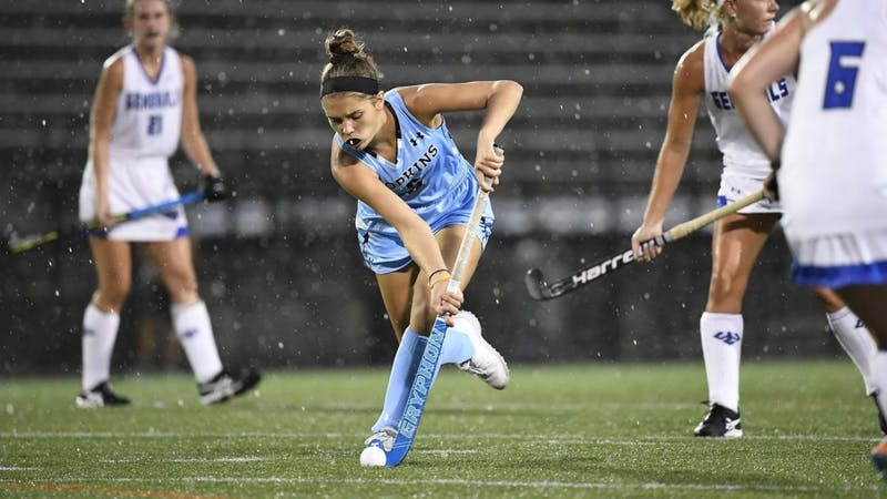 HOPKINSSPORTS.COM  Freshman midfielder Abby Birk scores her first career goal to help the Blue Jays win 2-1.