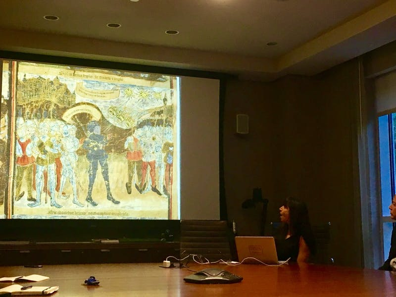 COURTESY OF MICHELLE LIMPE Sonja Drimmer taught students how medieval artists deployed common archetypes of power.