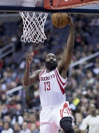 KEITH ALLISON/CC BY-SA 2.0 James Harden is the frontrunner for this year's MVP award.