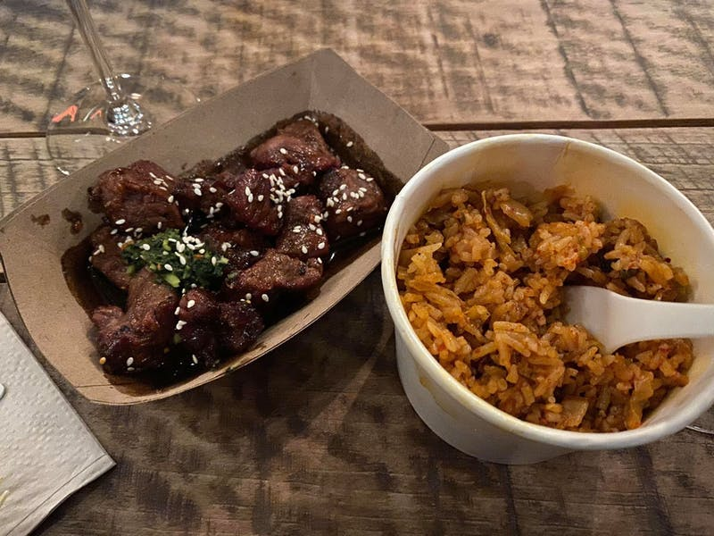 COURTESY OF FRANK GUERRIERO The pop up at Socle served char siu steak bites and kimchi fried rice.