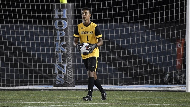 HOPKINSSPORTS.COM Junior goalie Xander LeFevre recorded seven saves during the game.