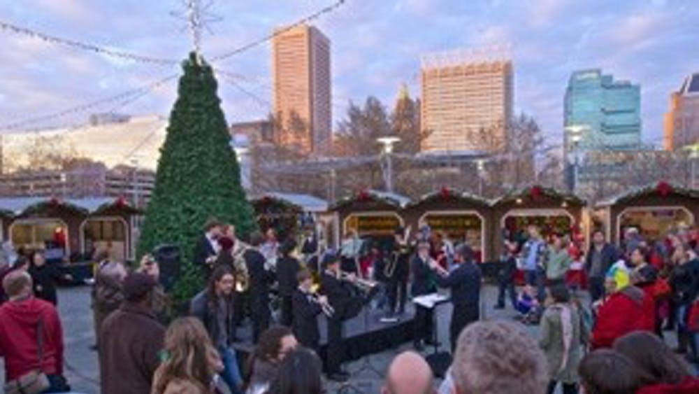 TOM PHILACHRISTMAS/CC BY-SA 4.0 The tree in Christmas Village of Baltimore's Inner Harbor in 2015.