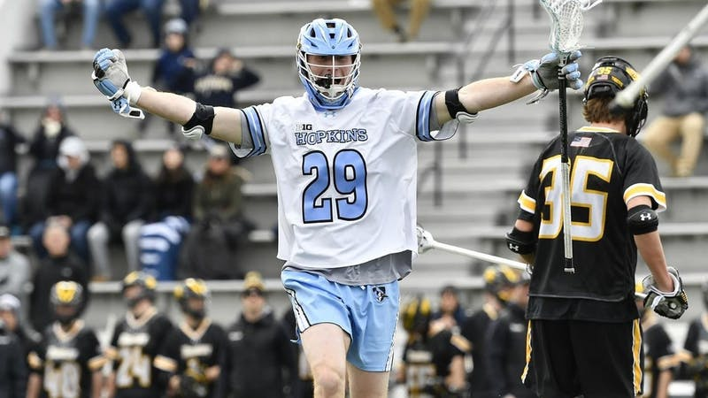 HOPKINSSPORTS.COM Evan Zinn scored two goals and added an assist in the Jays' 15-7 win.