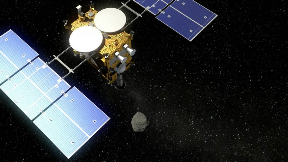 Deutsches Zentrum für Luft- und Raumfahrt/ CC By 3.0  Hayabusa2 will collect asteroid samples that may shed light on early solar system conditions.