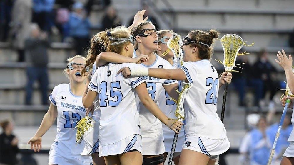 HOPKINSSPORTS.COM Women's lacrosse moves to 4-3 after a win against the St. Joseph University Hawks.