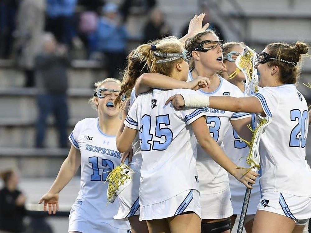 HOPKINSSPORTS.COM Women's lacrosse moves to 4-3 after a win against the St. Joseph University Hawks.