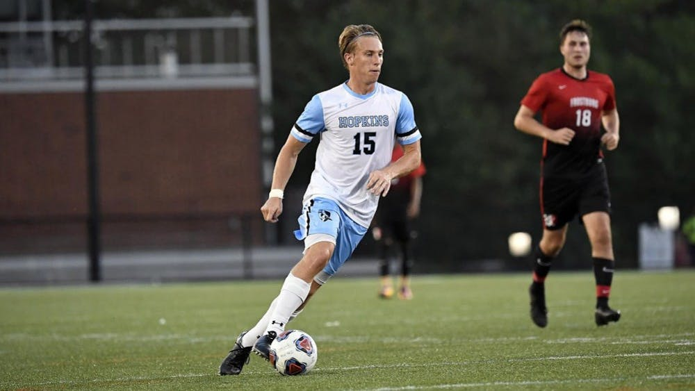 HOPKINSSPORTS.COM Junior forward Jonathon Brown slotted a goal against Mary Washington.