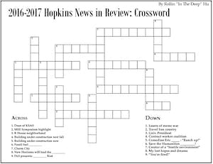 2016-2017 Hopkins News in Review: Crossword