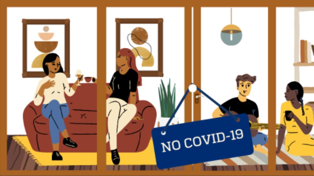 COURTESY OF PODGOALSJHU Khudairi and Wang call for students to form pods and communicate openly with their friends about COVID-19 risks.