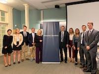 COURTESY OF GRETA MARAS US Senator Jim Talent and Professor Gigi Gronvall discussed the threat of bioterror attacks at Thursday's event.
