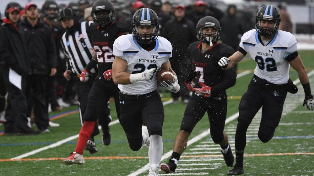 HOPKINSSPORTS.COM Frostburg State had no answer for senior running back Tyler Messinger.