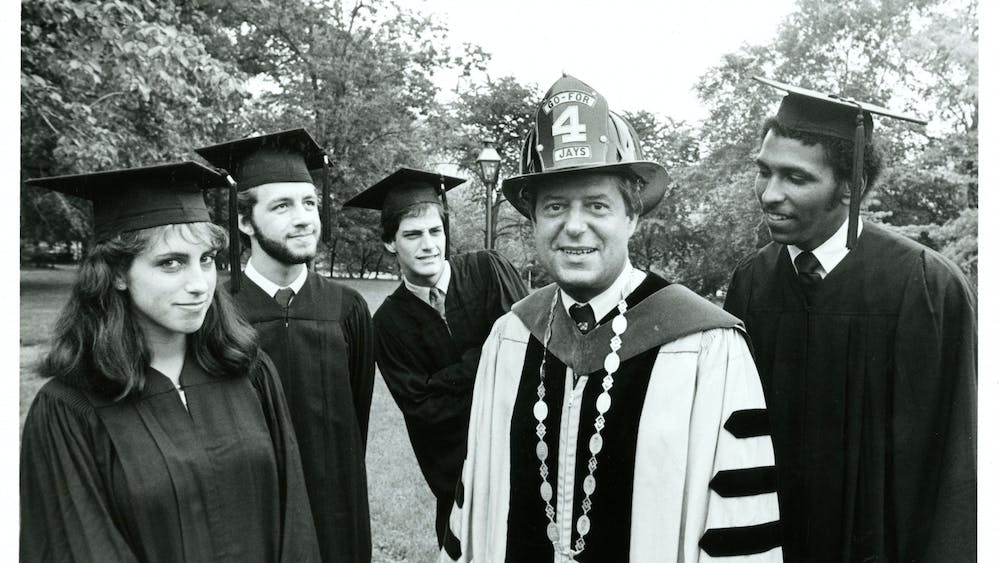 COURTESY OF THE UNIVERSITY ARCHIVES — SHERIDAN LIBRARIES  Yatchisin covered then-student president Michael Steele, pictured with former University President Steven Muller and Robert Friedman in 1981.