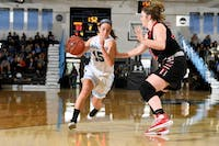 COURTESY OF HOPKINSSPORTS.COM  Senior guard Lillian Scott leads all scorers on Saturday with 26 points.