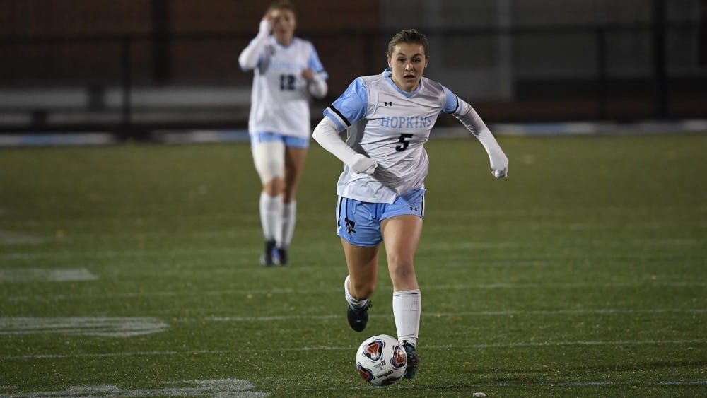 COURTESY OF HOPKINSSPORTS.COM  Junior midfielder Maggie Coulson offensively led the Blue Jays with four shot attempts on Sunday.