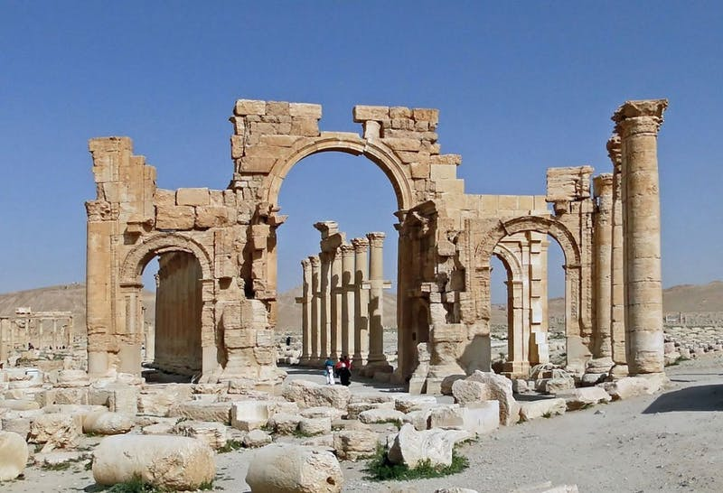 COURTESY OF SARAH SCHREIB The destroyed Monumental Arch of Palmyra was mentioned in the talk.