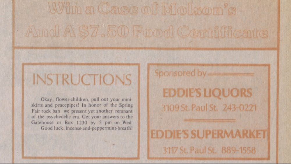 COURTESY OF THE UNIVERSITY ARCHIVES — SHERIDAN LIBRARIES Eddie's Liquors used to sponsor a quiz in The News-Letter, as pictured in April 1982.