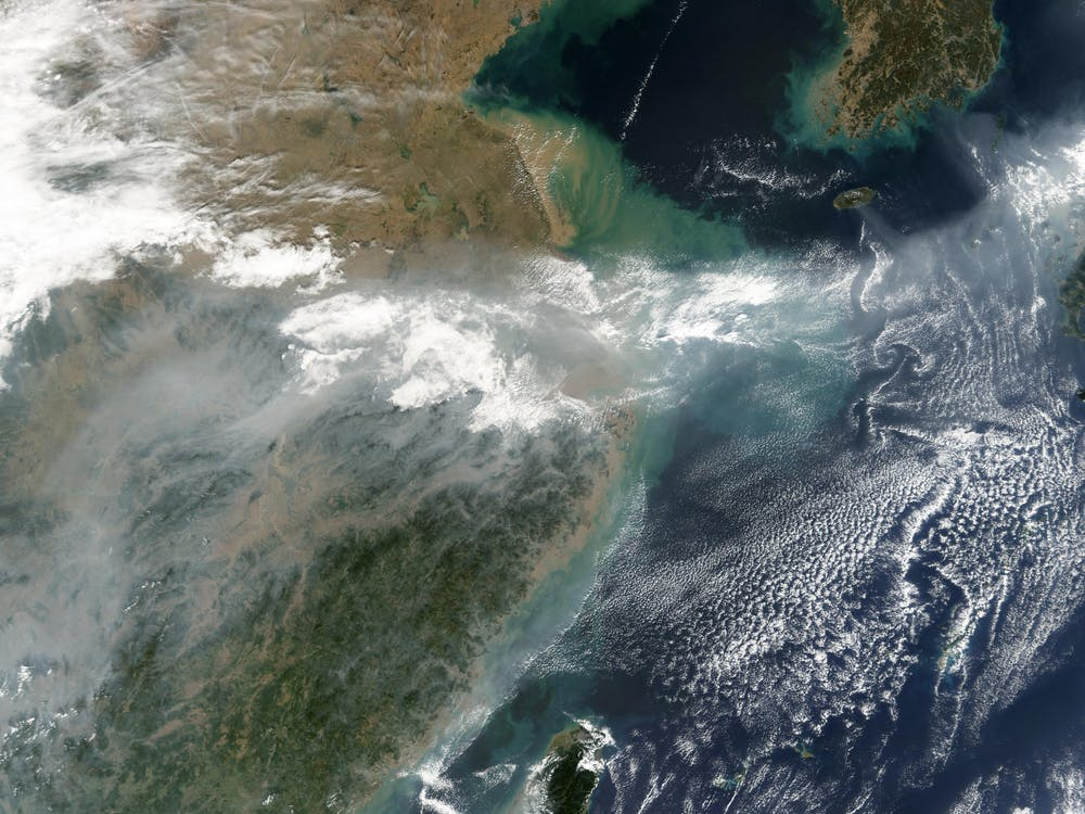 PUBLIC DOMAIN This Moderate Resolution Imaging Spectroradiometer image shows air pollution over East China.