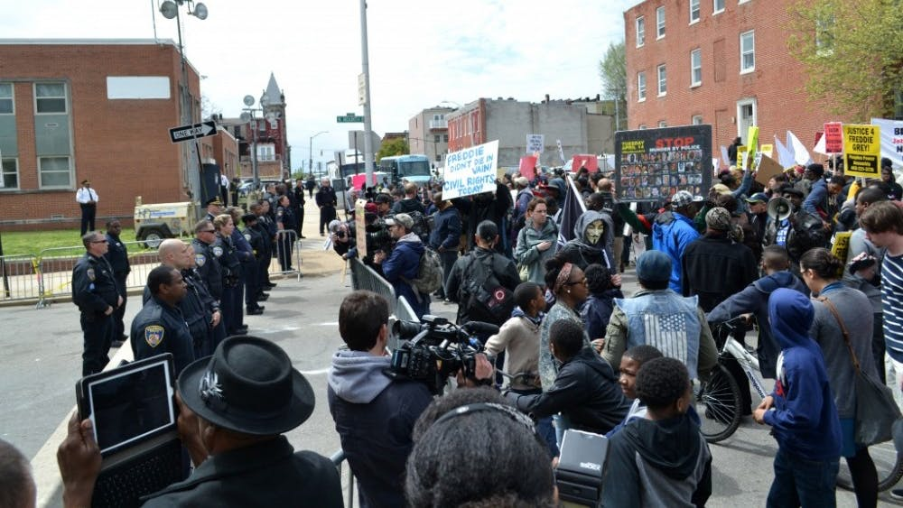 veggies/cc by-SA 3.0  Protesters in Baltimore have spoken out against racial injustice.