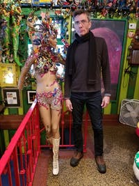 COURTESY OF ARIELLA SHUA Briskie with one of the mannequins he designed in Papermoon Diner.