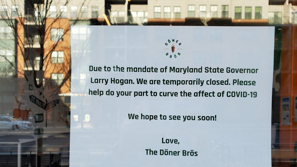 COURTESY OF JESSE WU Restaurants across Maryland have been forced to shut down due to the current COVID-19 pandemic.