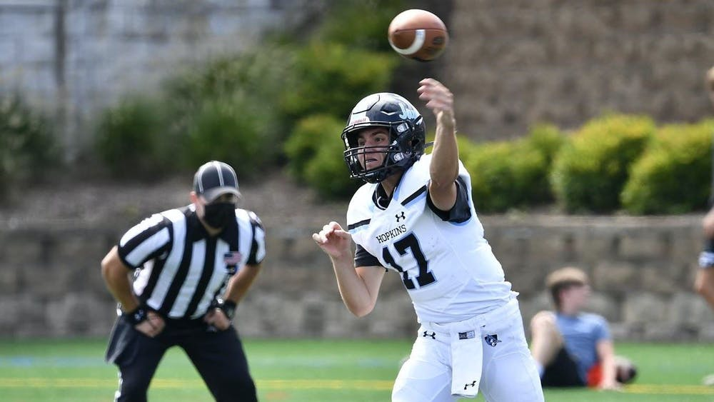 COURTESY OF HOPKINSSPORTS.COM Junior quarterback Ryan Stevens threw for 483 yards and five touchdowns in the Hopkins win.