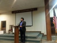 Courtesy of Bayleigh Murray Professor Sasha White lectured in the Room of Remembrance at Union Baptist Church.