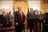 THE WHITE HOUSE/PUBLIC DOMAIN Shua mentions Senator Graham's dramatic turnaround towards President Trump as a sign to leave the GOP.