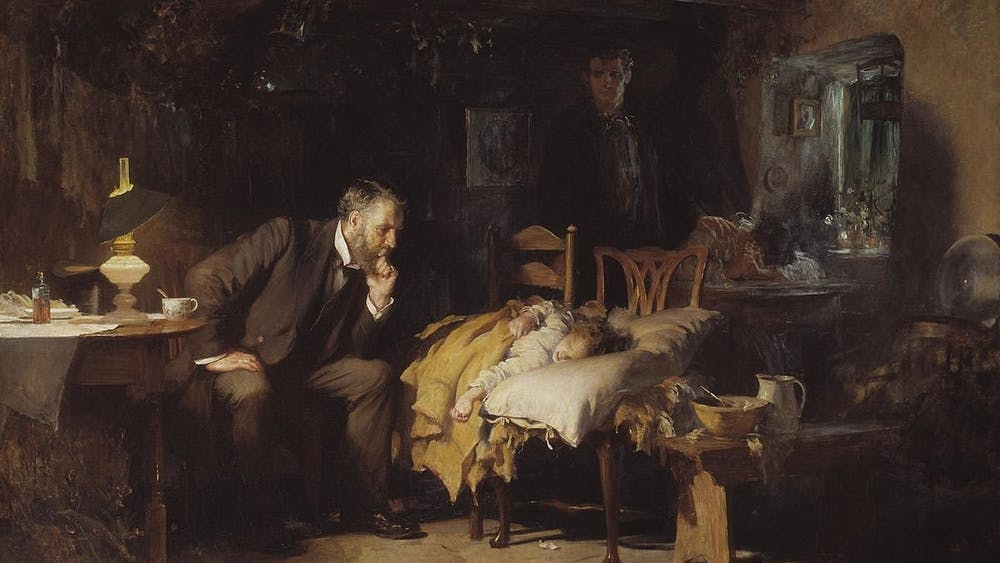 PUBLIC DOMAIN Artwork, such Luke Fildes's The Doctor, can remind students of the non-academic side of medicine.