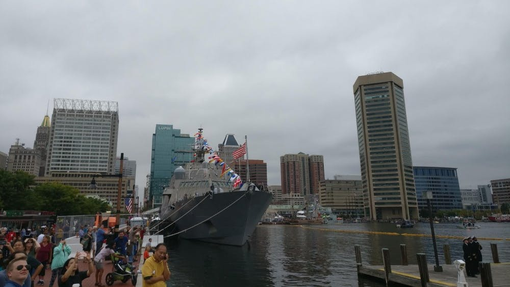COURTESY OF JESSE WU  A view of a ship in the Inner Harbor, decorated for Fleet Week festivities.