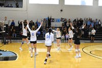 HOPKINSSPORTS.COM The Blue Jays did not drop a set in Centennial Conference play all season.