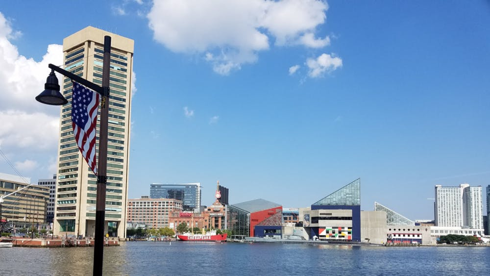 COURTESY OF ARIELLA SHUA A view of the Inner Harbor waterfront, aquarium, and power plant.
