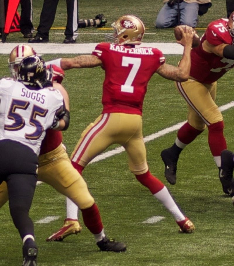 AU KIRK/CC BY 2.0 Colin Kaepernick led the 49ers to the Super Bowl in 2013 but is now out of a job.