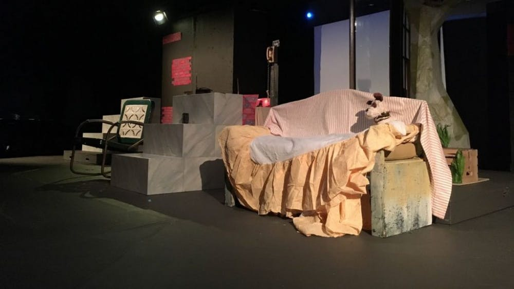 COURTESY OF CARVER BAIN The set of The Last House Standing, a play directed by Sheila Gaskins.