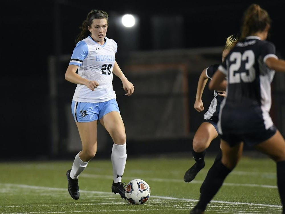 COURTESY OF HOPKINSSPORTS.COM Sophomore defender Sophia Stone tallied the first goal of her career in a 4-0 win over Catholic University.