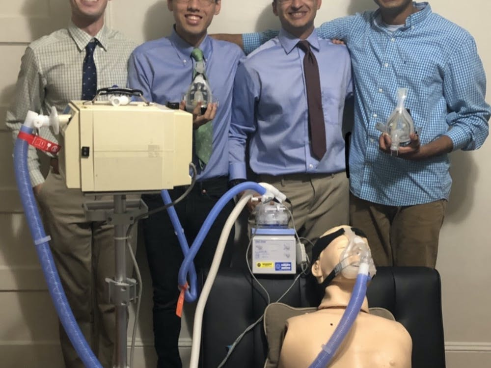 COURTESY OF MIN JAE KIM The team tested their prototype with a CPR dummy to simulate aerosolization.
