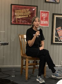 COURTESY OF JOHN ALLEN Author Lisa Fithian visited Red Emma's on Friday evening to present and discuss her new book Shut It Down.
