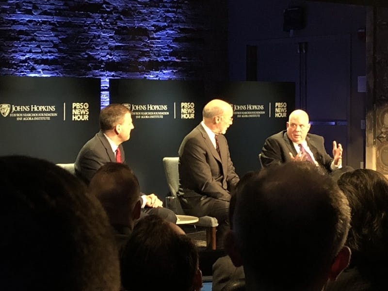 COURTESY OF JAKE LEFKOVITZ Governors Sununu, Hogan and Wolf discussed bipartisanship at Monday's talk.