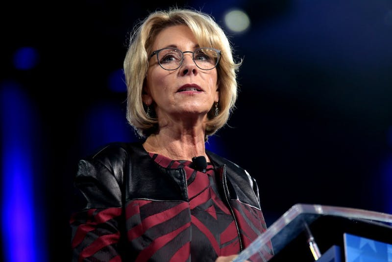 GAGE SKIDMORE / CC BY-SA 2.0 Education Secretary DeVos  proposed an overhaul of misconduct policies.