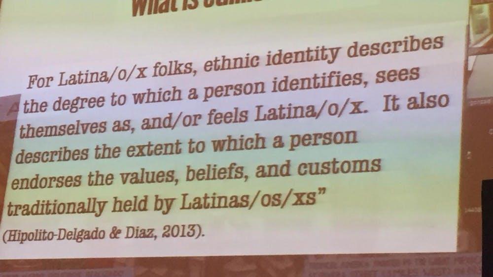 Courtesy of the Johns Hopkins Latino Alliance Hipolito-Delgado explored the impact of ethnic identity labels on the Latinx community.