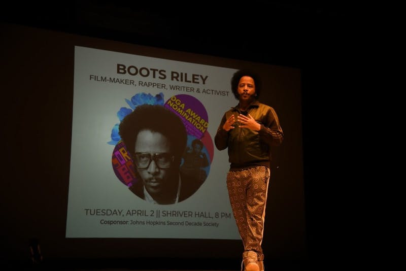 COURTESY OF STEPHANIE LEE Boots Riley, the director of Sorry to Bother You, spoke at FAS.