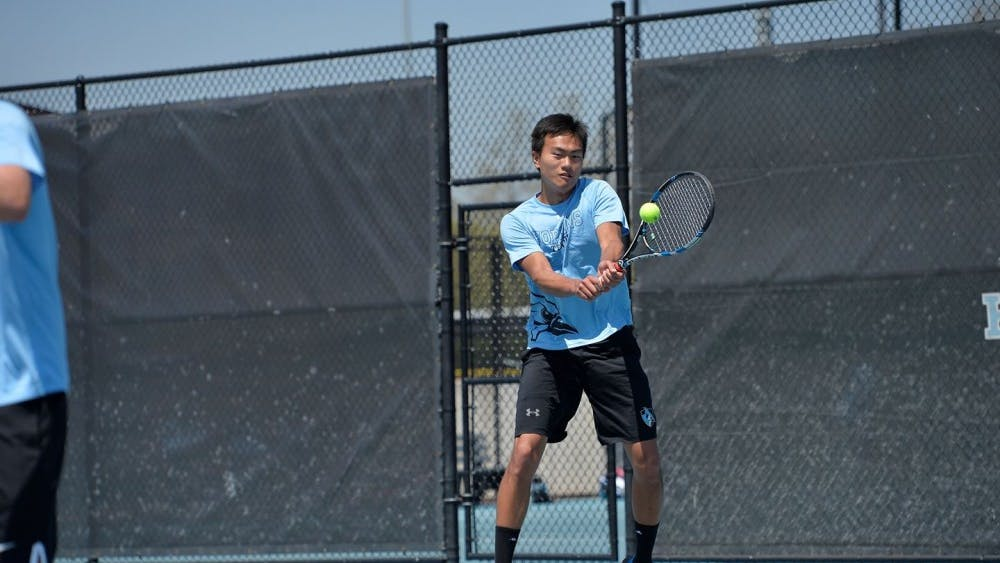 HOPKINSSPORTS.COM Gu won both his singles and doubles matchups Saturday.