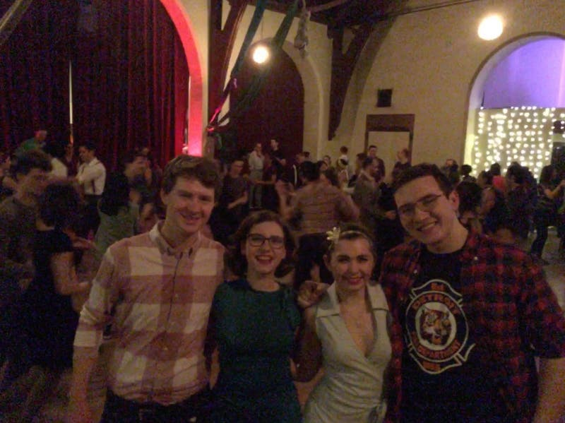 COURTESY OF EMMA SHANNON Shannon and friends enjoying a night of swing dancing at Mobtown.